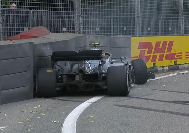 Формула-1. Гран-при Сингапура. Авария Боттаса на первой тренировке (Видео) - «Спорт»