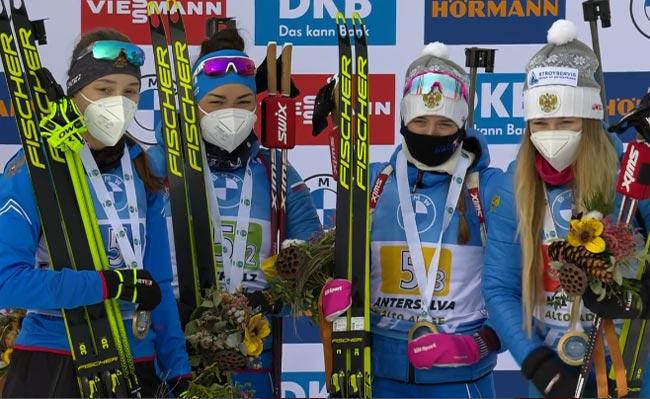 Российские биатлонистки выиграли эстафету на этапе Кубка мира в Антхольце; украинки - восьмые