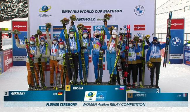 Украинские биатлонистки в зачете эстафет Кубка мира опустились на 8-е место.